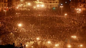 Crowd of Thousands of Rioters in Cairo